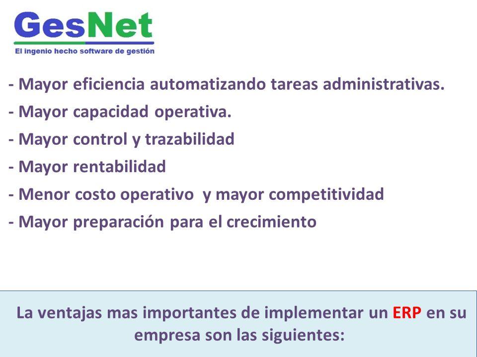 GesNet es un moderno software integrado de gestión Desarrollado para industria inmobiliaria y construcción La ventajas mas importantes de implementar un ERP en su empresa son las siguientes: - Mayor eficiencia automatizando tareas administrativas.