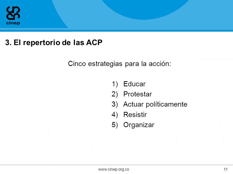 3. El repertorio de las ACP Cinco estrategias para la acción: 1)Educar 2)Protestar 3)Actuar políticamente 4)Resistir 5)Organizar www.cinep.org.co11
