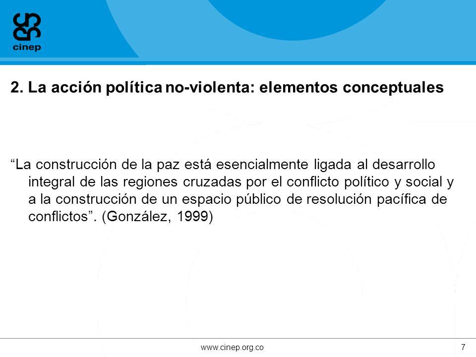 2. La acción política no-violenta: elementos conceptuales La construcción de la paz está esencialmente ligada al desarrollo integral de las regiones c