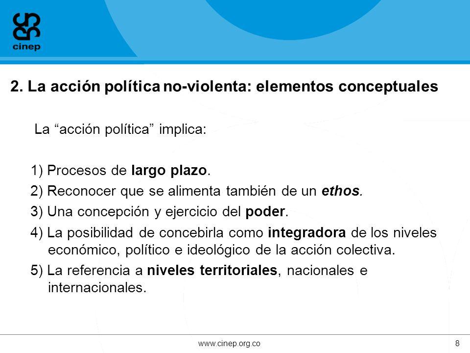 2. La acción política no-violenta: elementos conceptuales La acción política implica: 1) Procesos de largo plazo. 2) Reconocer que se alimenta también