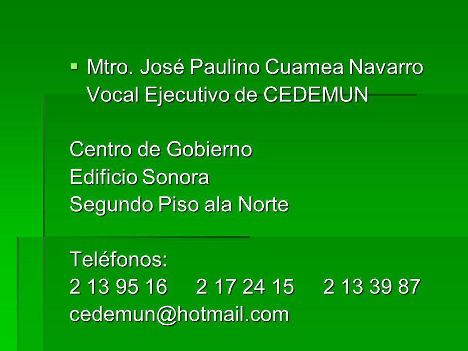 Mtro. José Paulino Cuamea Navarro Mtro.