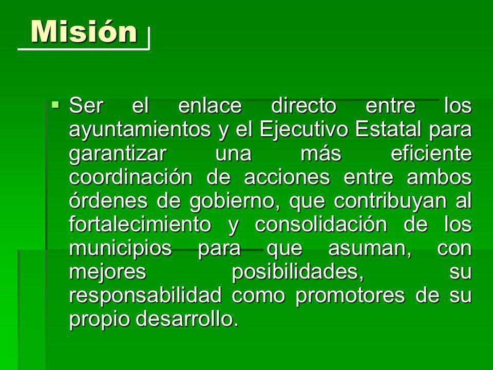 Prioridades: Encabezar la gestión de los municipios ante la Federación, para que éstos mejoren su posición dentro del federalismo fiscal mexicano.