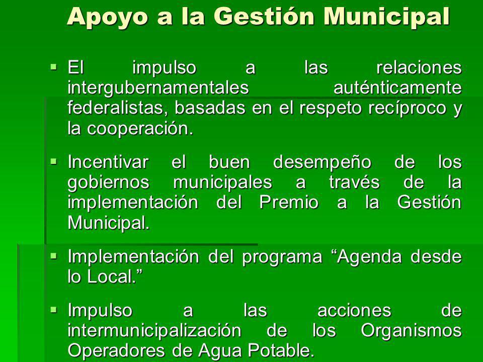 Apoyo a la Gestión Municipal El impulso a las relaciones intergubernamentales auténticamente federalistas, basadas en el respeto recíproco y la cooperación.