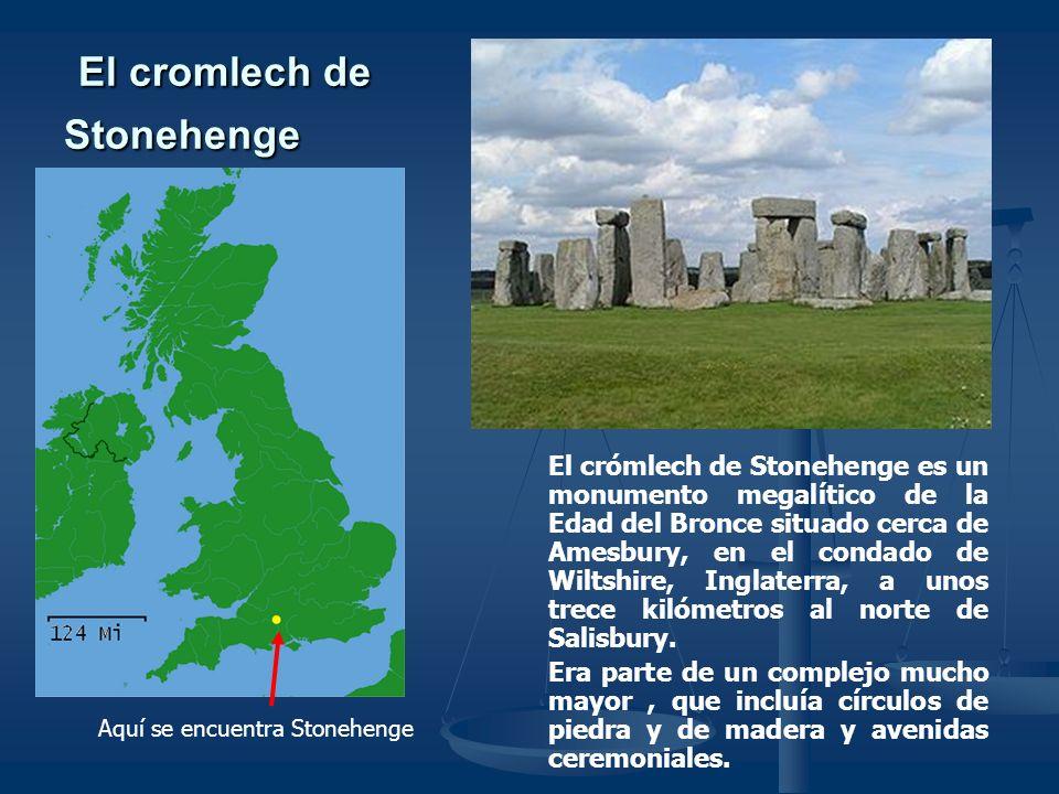 El crómlech de Stonehenge La finalidad que tuvo la construcción de este gran monumento se ignora, pero se supone que se utilizaba como templo religioso, monumento funerario u observatorio astronómico que servía para predecir estaciones.