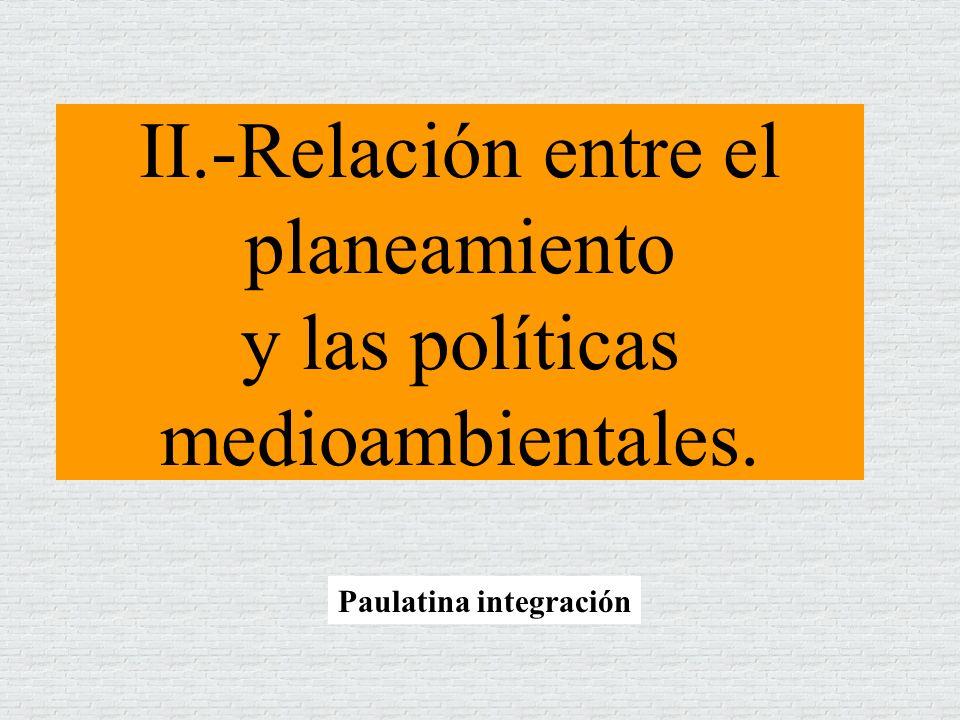 II.-Relación entre el planeamiento y las políticas medioambientales. Paulatina integración
