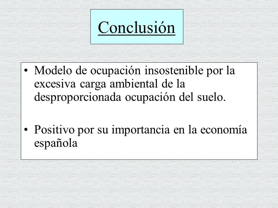 Conclusión Modelo de ocupación insostenible por la excesiva carga ambiental de la desproporcionada ocupación del suelo. Positivo por su importancia en
