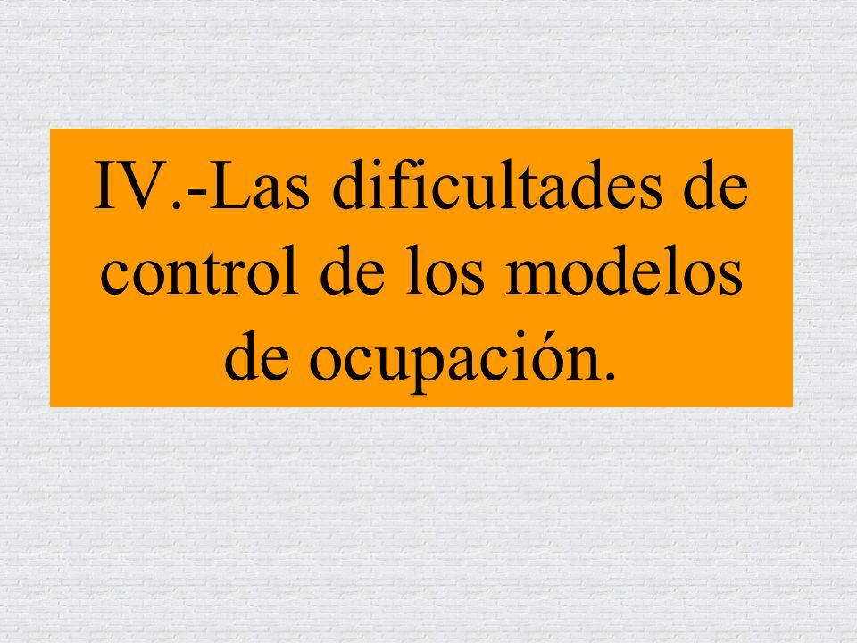 IV.-Las dificultades de control de los modelos de ocupación.