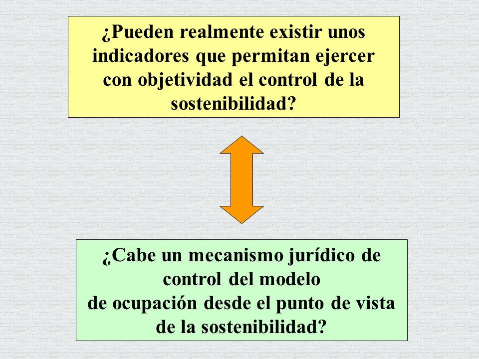 ¿Cabe un mecanismo jurídico de control del modelo de ocupación desde el punto de vista de la sostenibilidad? ¿Pueden realmente existir unos indicadore