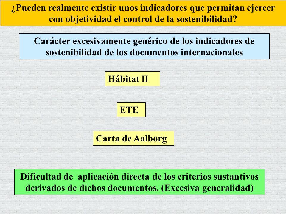 Carácter excesivamente genérico de los indicadores de sostenibilidad de los documentos internacionales Dificultad de aplicación directa de los criteri