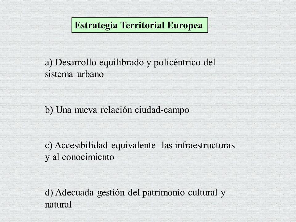 a) Desarrollo equilibrado y policéntrico del sistema urbano b) Una nueva relación ciudad-campo c) Accesibilidad equivalente las infraestructuras y al