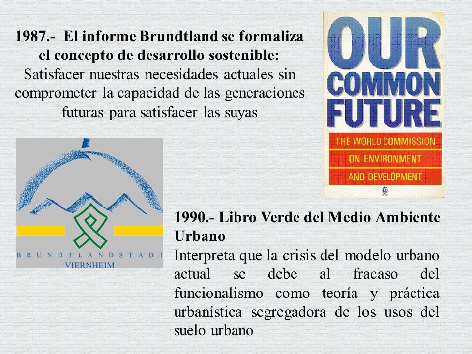 1992.- Cumbre de la Tierra de 1992 en Río de Janeiro Incorporó el Programa 21, cuyo Programa 21 Capítulo 7 se refiere al Fomento del desarrollo sostenible de los Asentamientos humanos En 1994 Primera Conferencia de ciudades europeas sostenibles.
