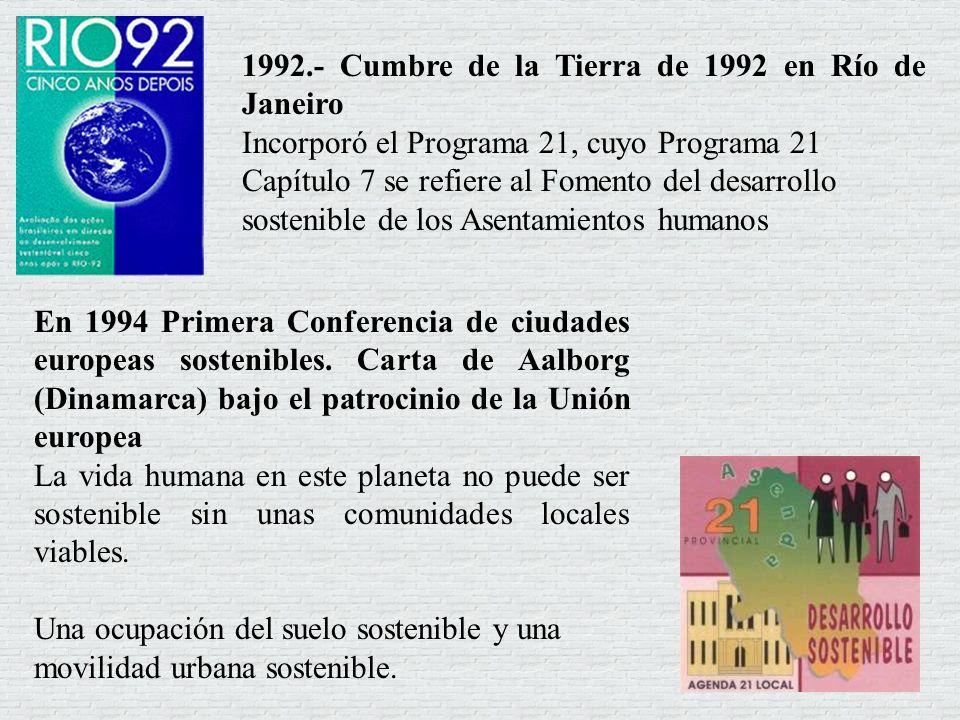 1992.- Cumbre de la Tierra de 1992 en Río de Janeiro Incorporó el Programa 21, cuyo Programa 21 Capítulo 7 se refiere al Fomento del desarrollo sosten