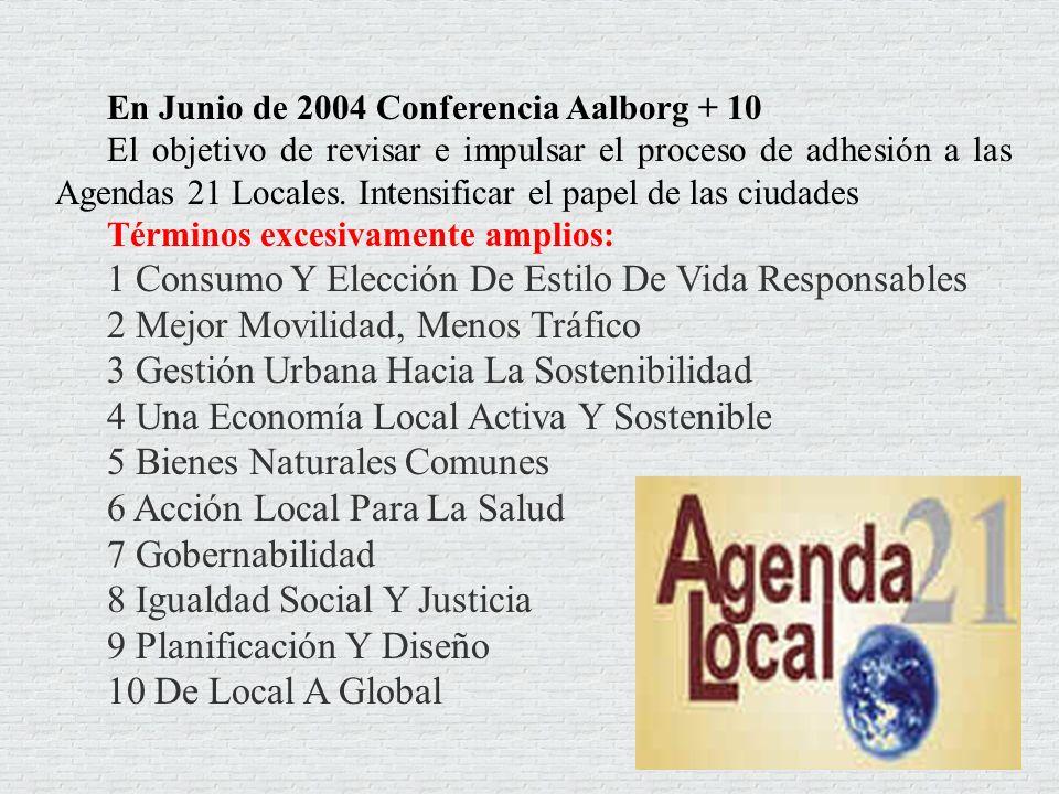 En Junio de 2004 Conferencia Aalborg + 10 El objetivo de revisar e impulsar el proceso de adhesión a las Agendas 21 Locales. Intensificar el papel de