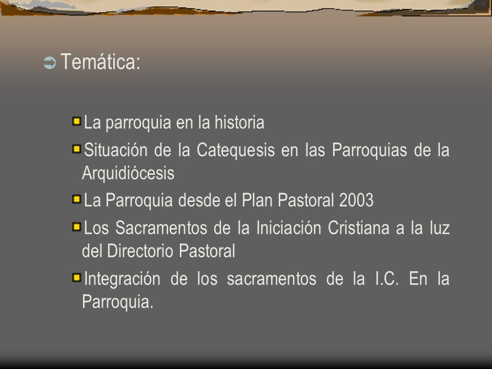 Temática: La parroquia en la historia Situación de la Catequesis en las Parroquias de la Arquidiócesis La Parroquia desde el Plan Pastoral 2003 Los Sacramentos de la Iniciación Cristiana a la luz del Directorio Pastoral Integración de los sacramentos de la I.C.