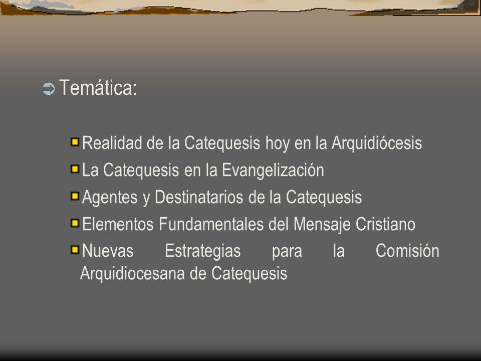 Temática: Realidad de la Catequesis hoy en la Arquidiócesis La Catequesis en la Evangelización Agentes y Destinatarios de la Catequesis Elementos Fundamentales del Mensaje Cristiano Nuevas Estrategias para la Comisión Arquidiocesana de Catequesis