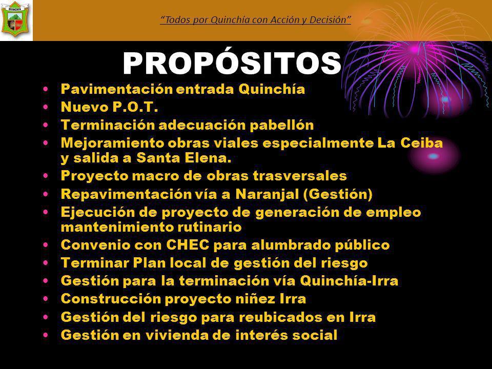 PROPÓSITOS Pavimentación entrada Quinchía Nuevo P.O.T.