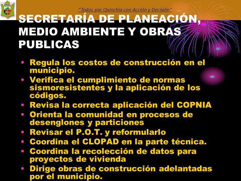 SECRETARÍA DE PLANEACIÓN, MEDIO AMBIENTE Y OBRAS PUBLICAS Regula los costos de construcción en el municipio.