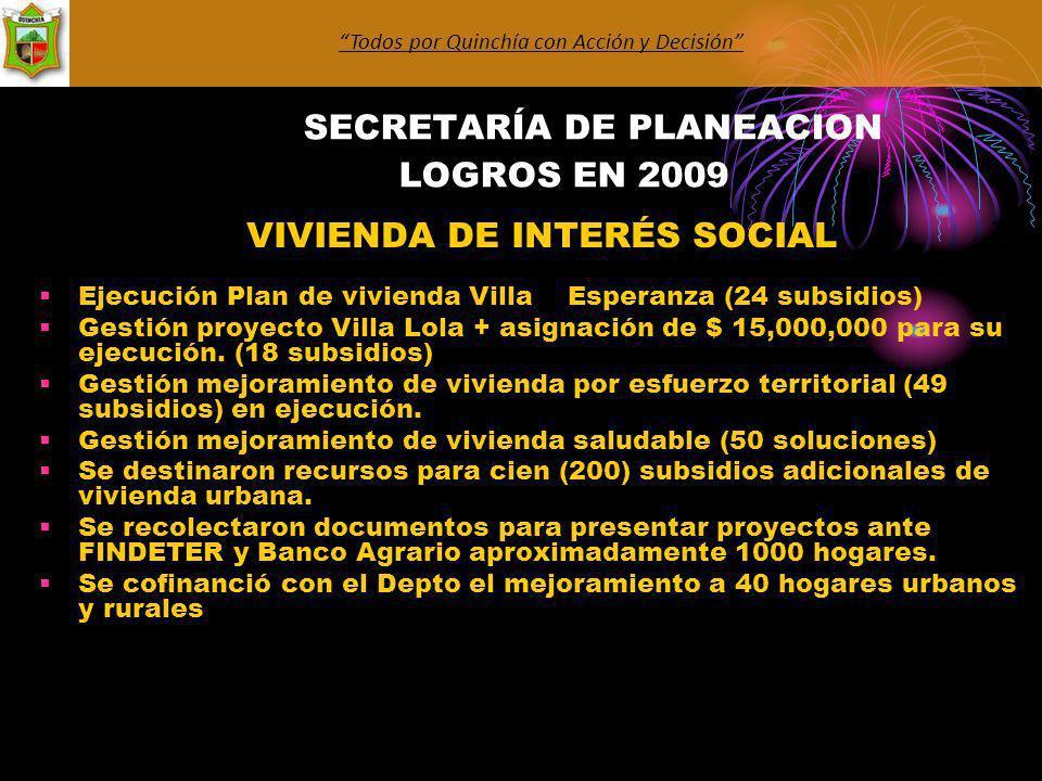 SECRETARÍA DE PLANEACION LOGROS EN 2009 VIVIENDA DE INTERÉS SOCIAL Ejecución Plan de vivienda Villa Esperanza (24 subsidios) Gestión proyecto Villa Lola + asignación de $ 15,000,000 para su ejecución.