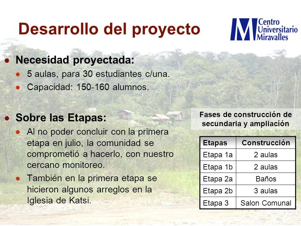 Desarrollo del proyecto Necesidad proyectada: 5 aulas, para 30 estudiantes c/una. Capacidad: 150-160 alumnos. Sobre las Etapas: Al no poder concluir c