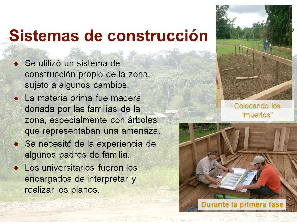 Sistemas de construcción Se utilizó un sistema de construcción propio de la zona, sujeto a algunos cambios. La materia prima fue madera donada por las