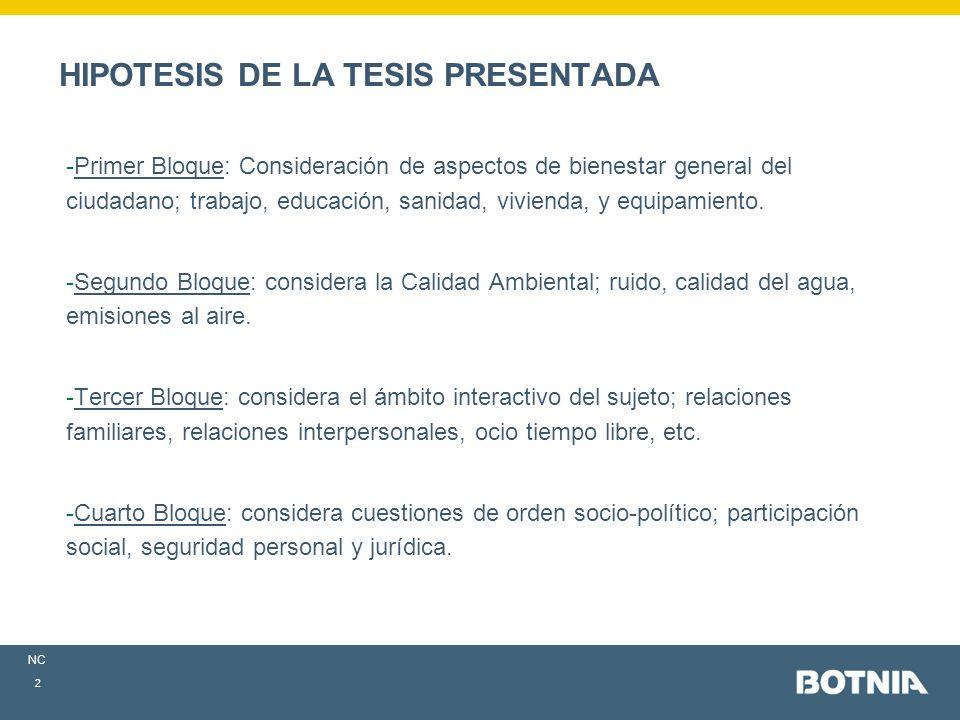 NC 2 HIPOTESIS DE LA TESIS PRESENTADA -Primer Bloque: Consideración de aspectos de bienestar general del ciudadano; trabajo, educación, sanidad, vivienda, y equipamiento.