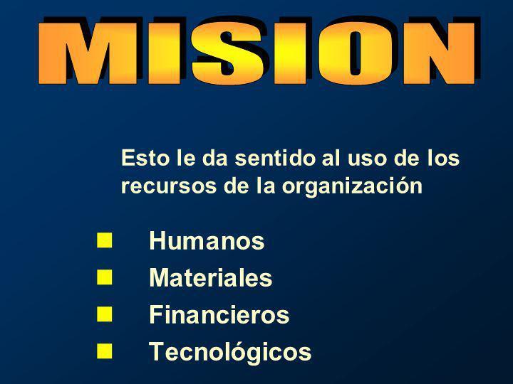 Humanos Materiales Financieros Tecnológicos Esto le da sentido al uso de los recursos de la organización