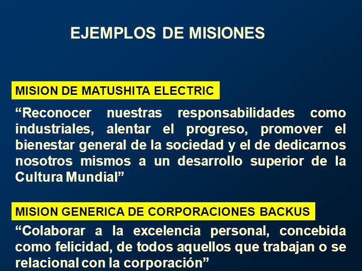 MISION DE MATUSHITA ELECTRIC Reconocer nuestras responsabilidades como industriales, alentar el progreso, promover el bienestar general de la sociedad