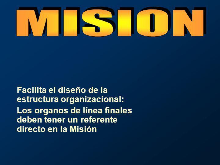 Facilita el diseño de la estructura organizacional: Los organos de línea finales deben tener un referente directo en la Misión