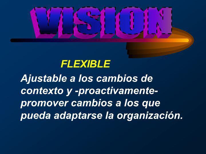 FLEXIBLE Ajustable a los cambios de contexto y -proactivamente- promover cambios a los que pueda adaptarse la organización.