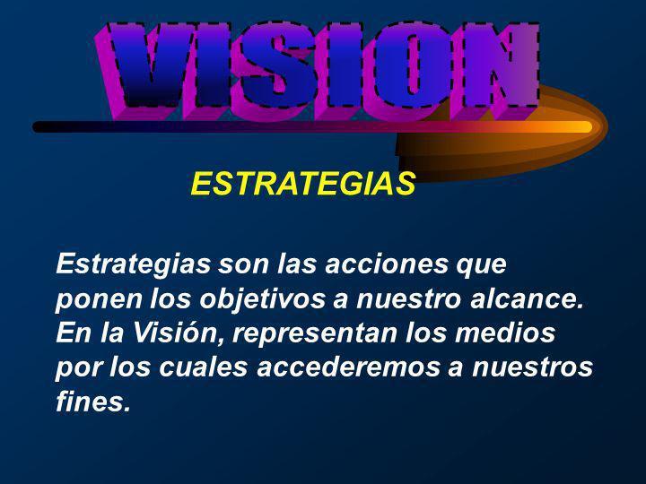 ESTRATEGIAS Estrategias son las acciones que ponen los objetivos a nuestro alcance. En la Visión, representan los medios por los cuales accederemos a