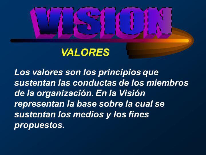 VALORES Los valores son los principios que sustentan las conductas de los miembros de la organización. En la Visión representan la base sobre la cual