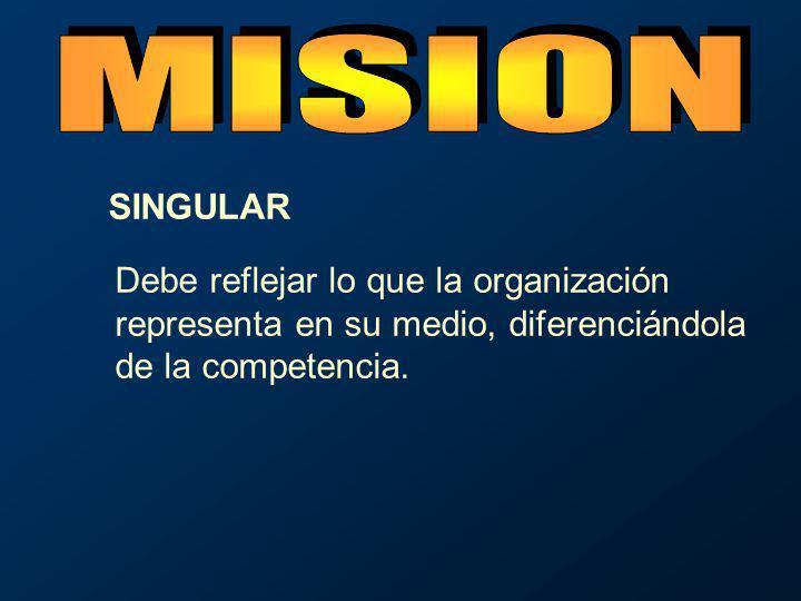 Debe reflejar lo que la organización representa en su medio, diferenciándola de la competencia. SINGULAR