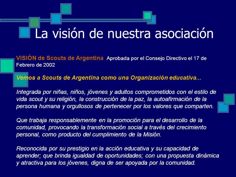 La visión de nuestra asociación VISIÓN de Scouts de Argentina Aprobada por el Consejo Directivo el 17 de Febrero de 2002 Vemos a Scouts de Argentina como una Organización educativa...