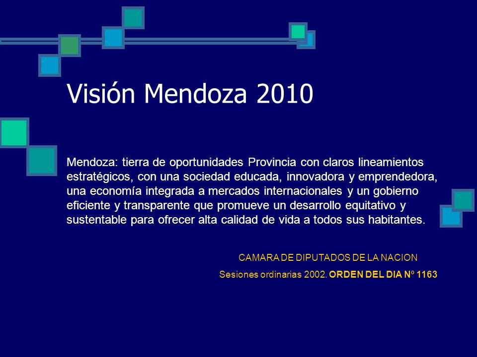 Visión Mendoza 2010 Mendoza: tierra de oportunidades Provincia con claros lineamientos estratégicos, con una sociedad educada, innovadora y emprendedora, una economía integrada a mercados internacionales y un gobierno eficiente y transparente que promueve un desarrollo equitativo y sustentable para ofrecer alta calidad de vida a todos sus habitantes.
