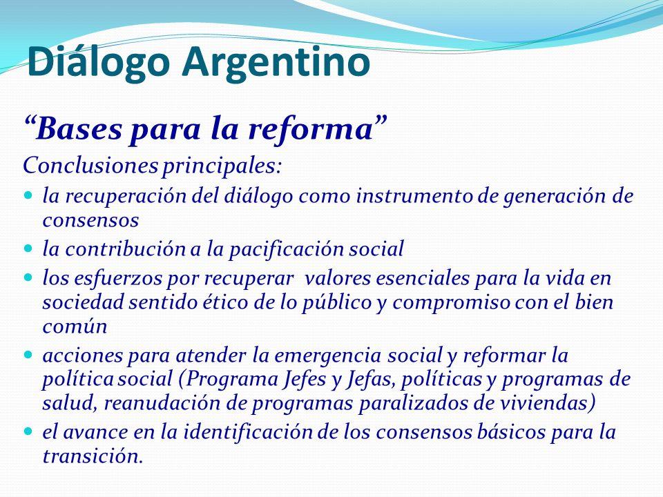 Diálogo Argentino Bases para la reforma Conclusiones principales: la recuperación del diálogo como instrumento de generación de consensos la contribuc