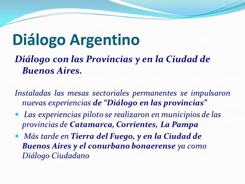 Diálogo Argentino Diálogo con las Provincias y en la Ciudad de Buenos Aires. Instaladas las mesas sectoriales permanentes se impulsaron nuevas experie