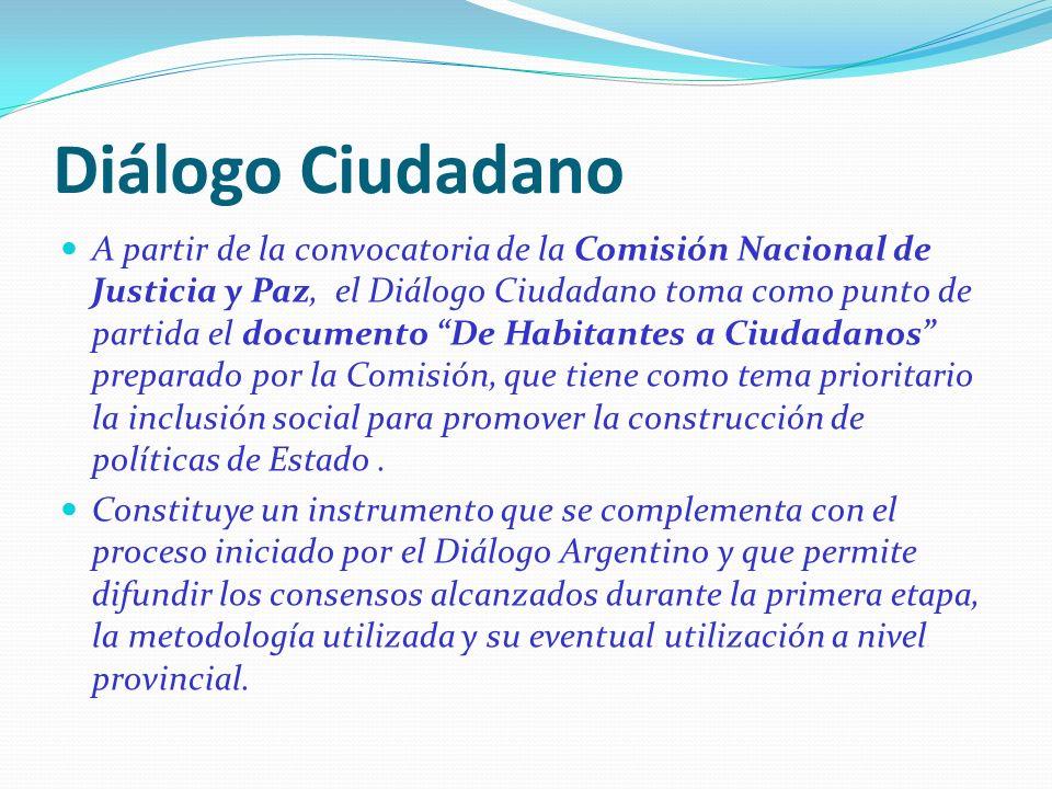 Diálogo Ciudadano A partir de la convocatoria de la Comisión Nacional de Justicia y Paz, el Diálogo Ciudadano toma como punto de partida el documento De Habitantes a Ciudadanos preparado por la Comisión, que tiene como tema prioritario la inclusión social para promover la construcción de políticas de Estado.