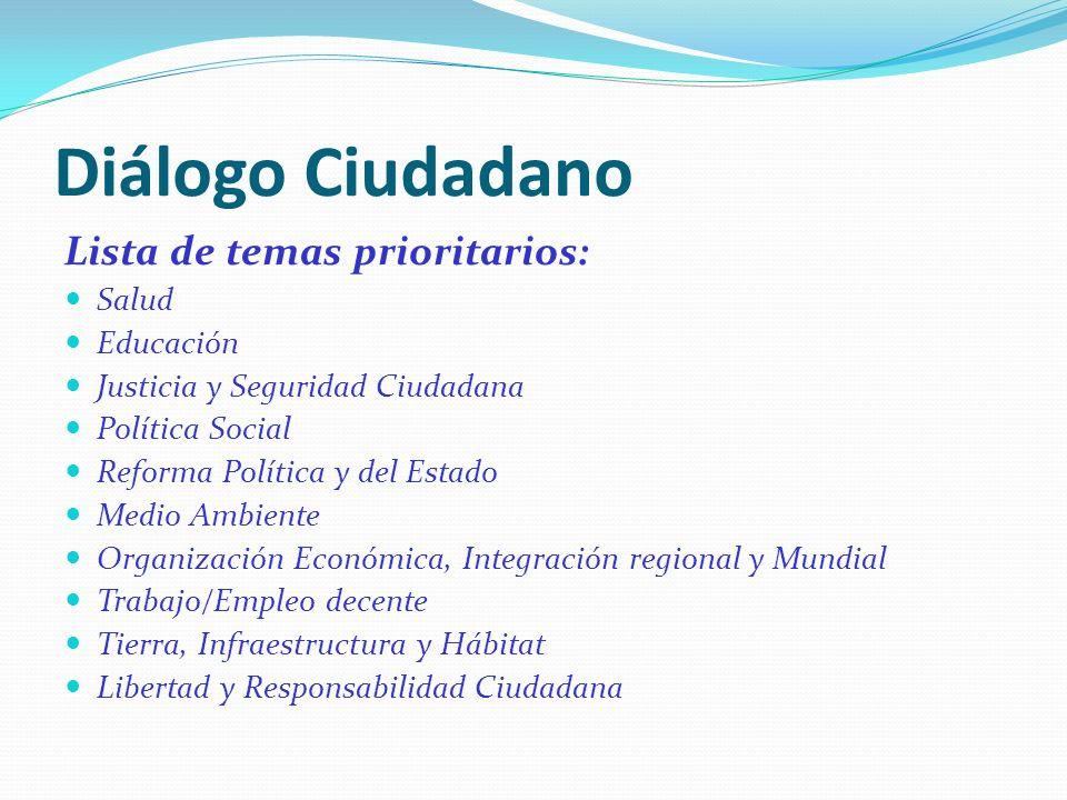 Diálogo Ciudadano Lista de temas prioritarios: Salud Educación Justicia y Seguridad Ciudadana Política Social Reforma Política y del Estado Medio Ambi
