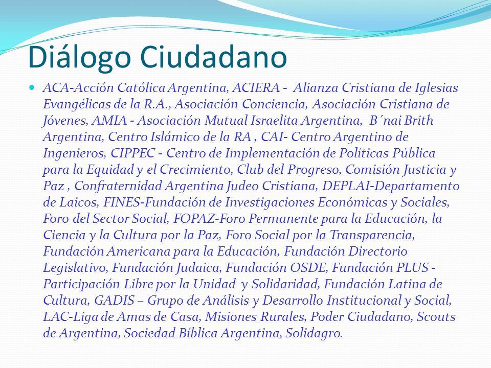 Diálogo Ciudadano ACA-Acción Católica Argentina, ACIERA - Alianza Cristiana de Iglesias Evangélicas de la R.A., Asociación Conciencia, Asociación Cris