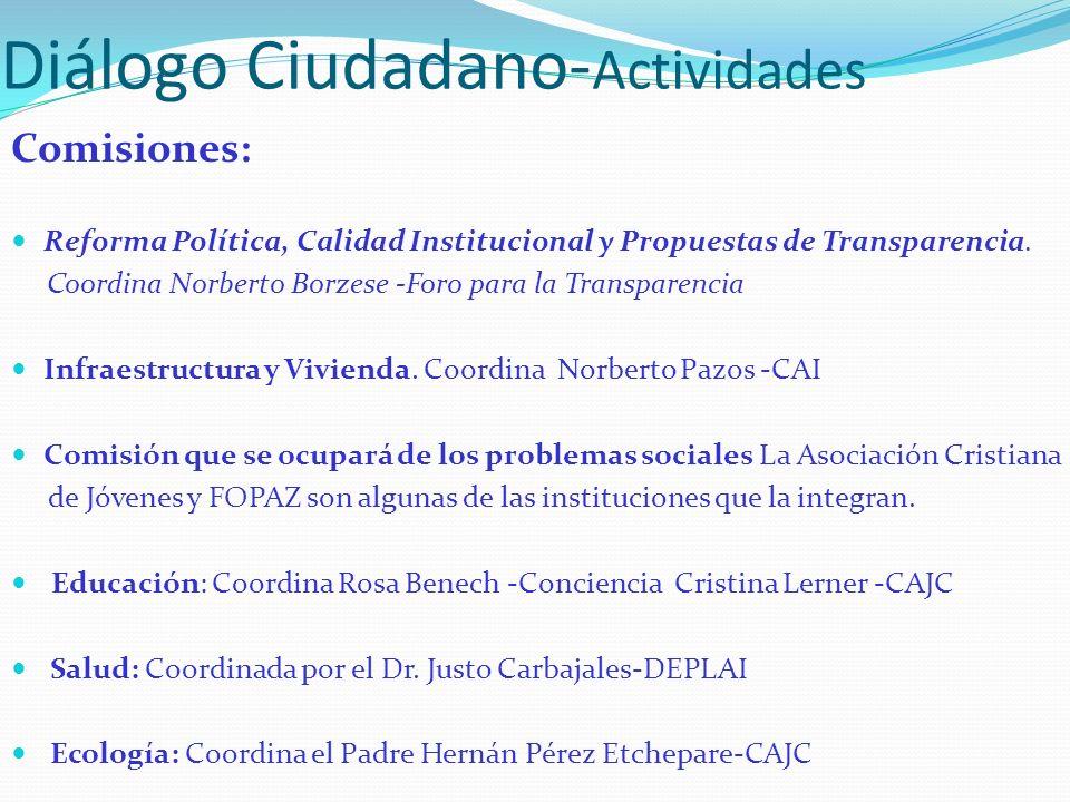 Diálogo Ciudadano- Actividades Comisiones: Reforma Política, Calidad Institucional y Propuestas de Transparencia. Coordina Norberto Borzese -Foro para