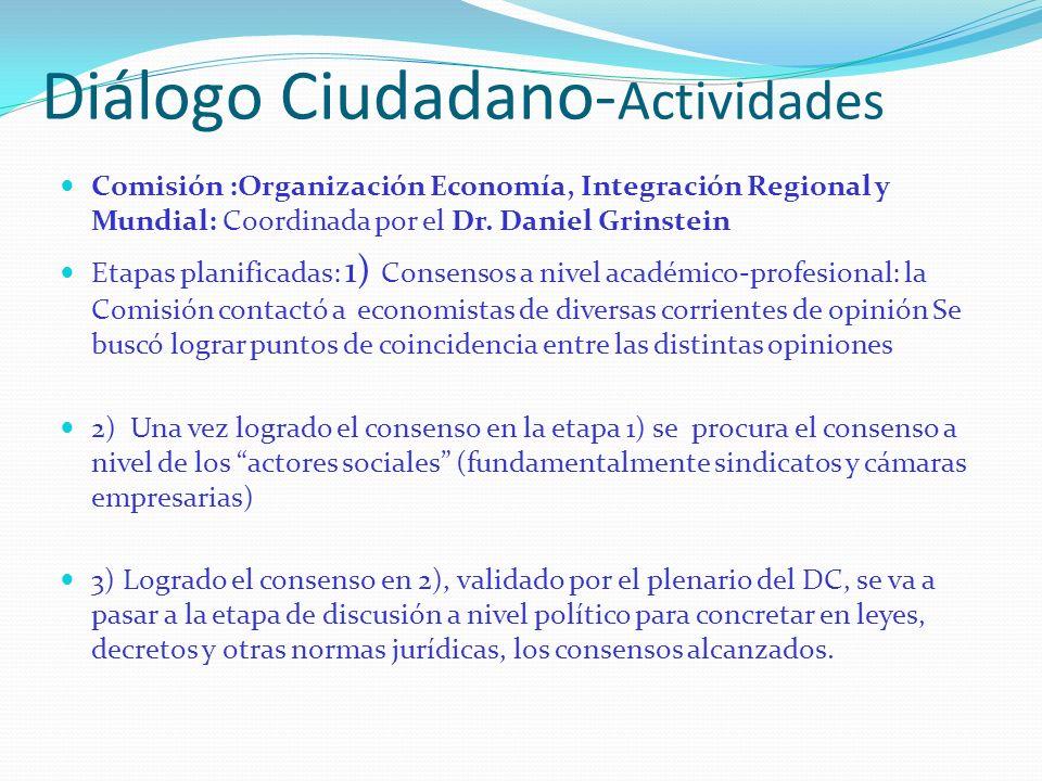 Diálogo Ciudadano- Actividades Comisión :Organización Economía, Integración Regional y Mundial: Coordinada por el Dr. Daniel Grinstein Etapas planific