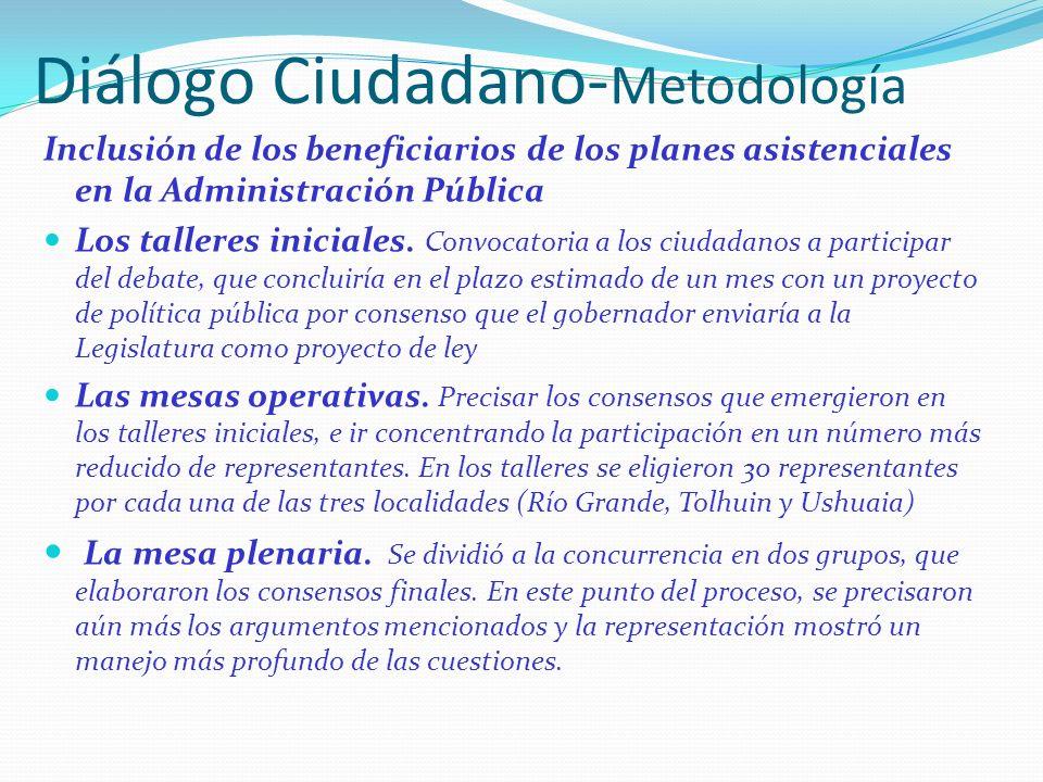 Diálogo Ciudadano- Metodología Inclusión de los beneficiarios de los planes asistenciales en la Administración Pública Los talleres iniciales.