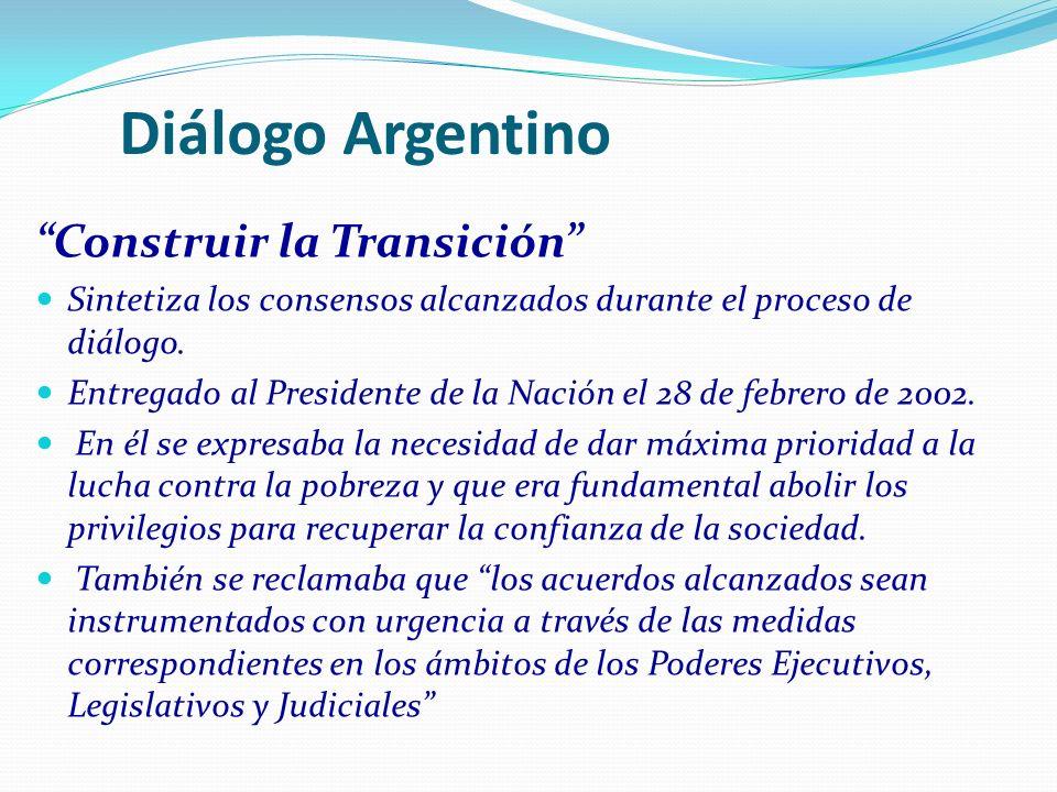 Diálogo Argentino Construir la Transición Sintetiza los consensos alcanzados durante el proceso de diálogo. Entregado al Presidente de la Nación el 28
