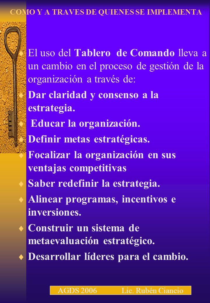 COMO Y A TRAVES DE QUIENES SE IMPLEMENTA El uso del Tablero de Comando lleva a un cambio en el proceso de gestión de la organización a través de: Dar claridad y consenso a la estrategia.