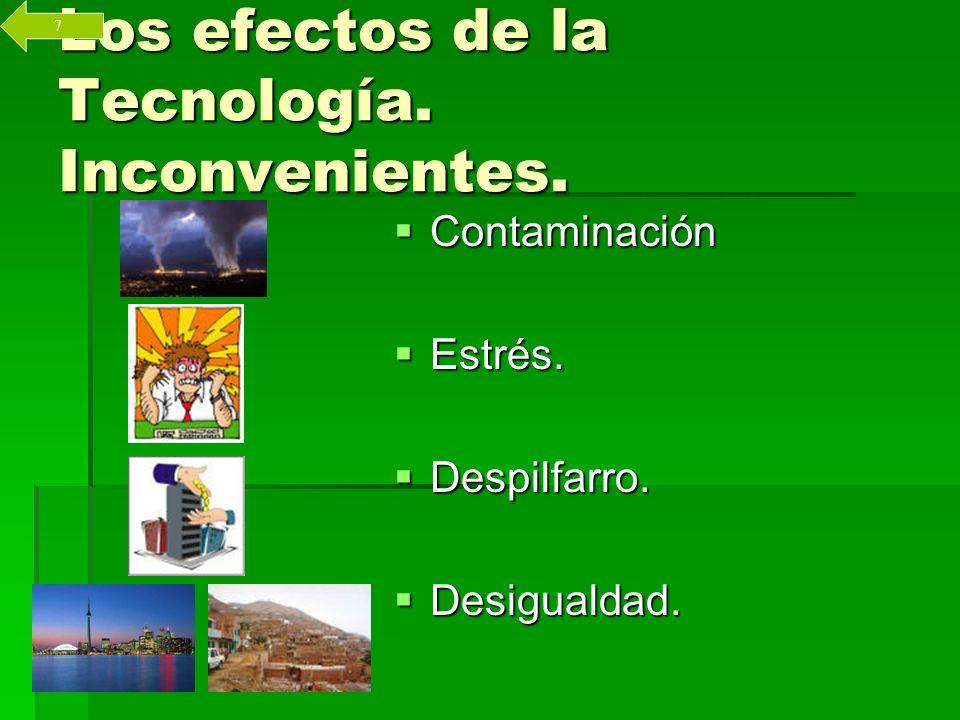 Los efectos de la Tecnología. Inconvenientes. Contaminación Contaminación Estrés.