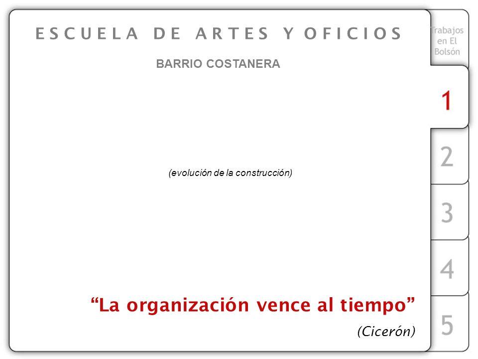 E S C U E L A D E A R T E S Y O F I C I O S BARRIO COSTANERA La organización vence al tiempo (Cicerón) (evolución de la construcción)