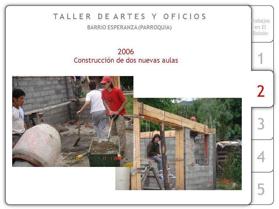 T A L L E R D E A R T E S Y O F I C I O S BARRIO ESPERANZA (PARROQUIA) 2006 Construcción de dos nuevas aulas