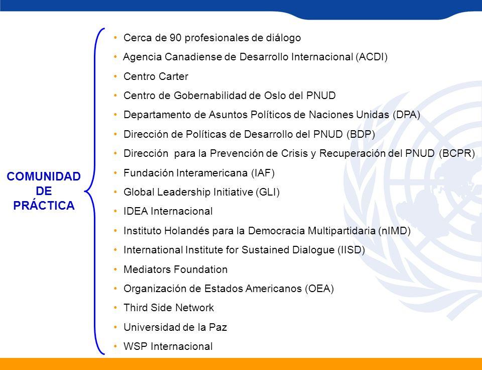 Cerca de 90 profesionales de diálogo Agencia Canadiense de Desarrollo Internacional (ACDI) Centro Carter Centro de Gobernabilidad de Oslo del PNUD Dep