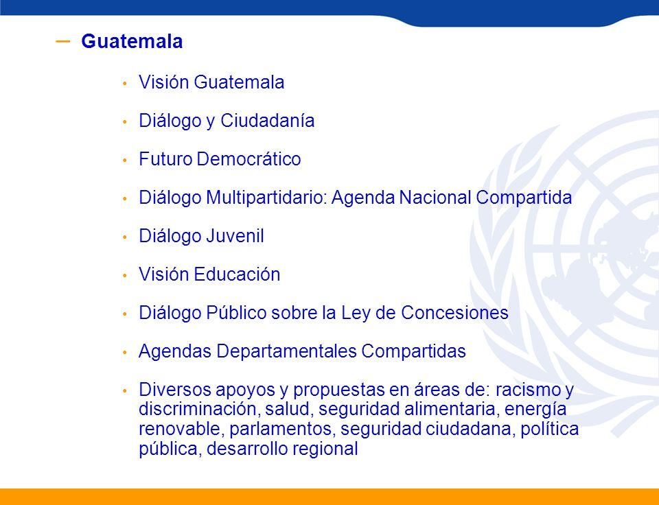 – Guatemala Visión Guatemala Diálogo y Ciudadanía Futuro Democrático Diálogo Multipartidario: Agenda Nacional Compartida Diálogo Juvenil Visión Educac