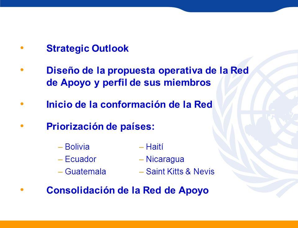Strategic Outlook Diseño de la propuesta operativa de la Red de Apoyo y perfil de sus miembros Inicio de la conformación de la Red Priorización de paí